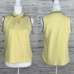 Hannah stretch yellow sleeveless polo